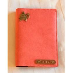 Portefeuille rose saumon personnalisé - Porte-passeport rose saumon personnalisé