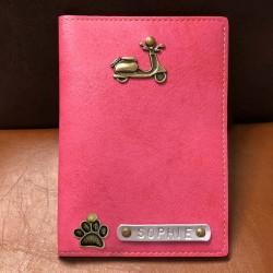 Portefeuille rose personnalisé - Porte-passeport rose personnalisé