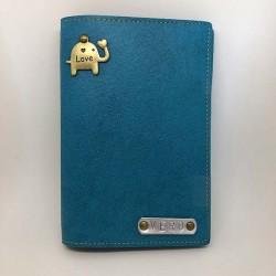 Portefeuille bleu canard personnalisé - Porte-passeport bleu canard personnalisé