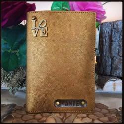 Portefeuille bronze personnalisé - Porte-passeport bronze personnalisé